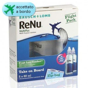 ReNu MultiPlus 2 x 60ml Flight Pack + Porta Lenti